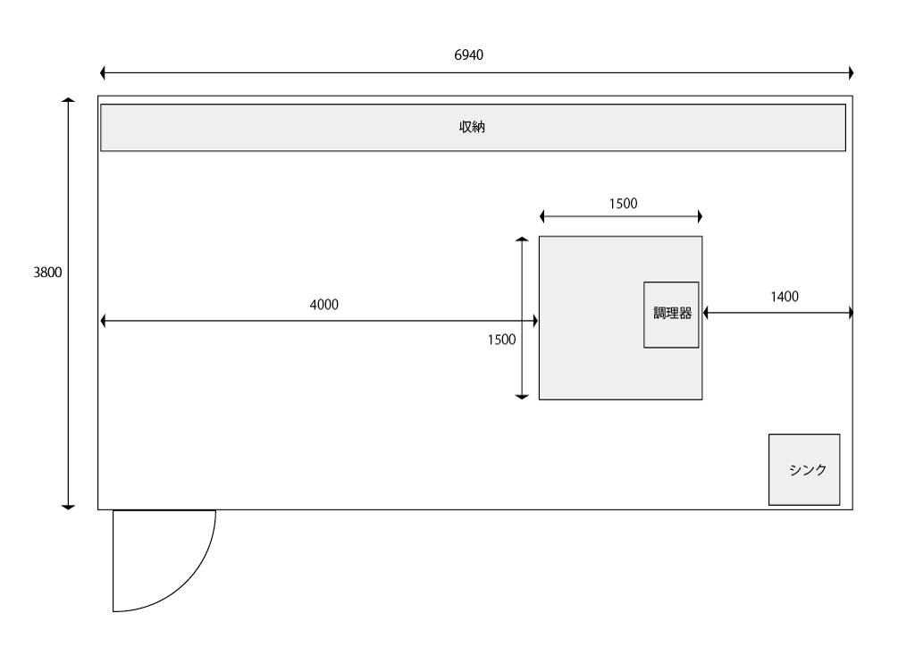 正方形のアイランド型キッチン案